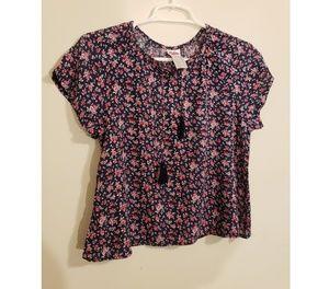 Justice Floral Print Boho Shirt | Girls Sz 10